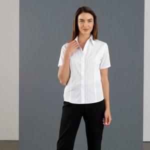 John Kevin Ladies Short Sleeve Fine Stripe