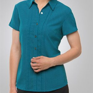 City Collection City Ladies Stretch Spot Short Sleeve Shirt