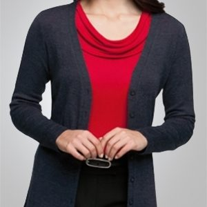 City Collection Overknit Ladies Long Sleeve Corporate Buttoned Top