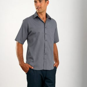 John Kevin Mens Short Sleeve Pin Stripe