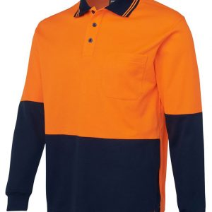 JB's Wear Hi Vis Long Sleeve Cotton Back Polo