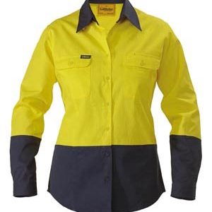 Bisley Ladies 2 Tone Hi Vis Long Sleeve Drill Shirt