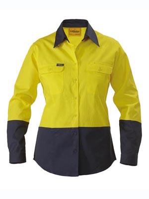 Bisley Ladies 2 Tone Hi Vis Long Sleeve Drill Shirt