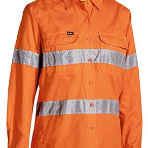 Bisley Ladies Taped Hi Vis X Airflow Ripstop Long Sleeve Shirt