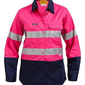 Bisley Ladies Two Tone Hi Vis Lightweight Long Sleeve Shirt