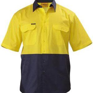 Bisley Mens Two Tone Short Sleeve Cool Lightweight Drill Shirt
