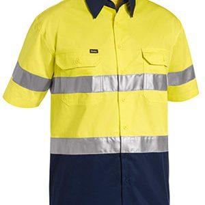 Bisley Taped Two Tone Hi Vis Short Sleeve Cool Lightweight Shirt