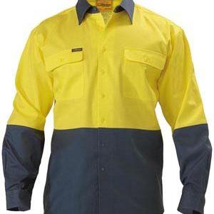 Bisley Long Sleeve 2 Tone Hi Vis Drill Shirt