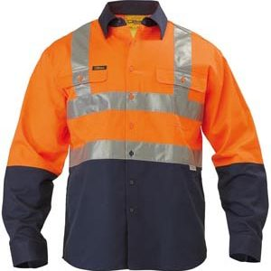 Bisley 2 Tone Hi Vis Long Sleeve Reflective Taped Drill Shirt