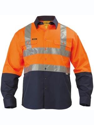 Bisley 2 Tone Hi Vis Long Sleeve Reflective Taped Drill Shirt