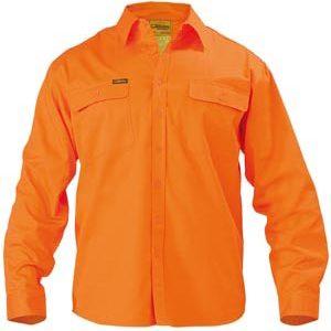 Bisley Long Sleeve Hi Vis Drill Shirt