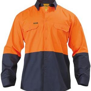 Bisley Hi Vis Long Sleeve Cool Lightweight Drill Shirt