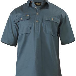Bisley Closed Front Mens Cotton Drill Short Sleeve Shirt