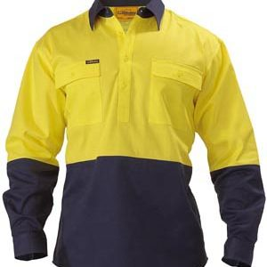 Bisley Long Sleeve 2 Tone Hi Vis Closed Front Drill Shirt