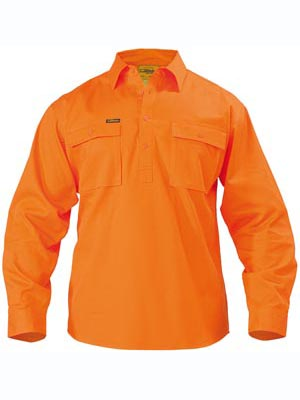 Bisley Closed Front Cotton Mens Drill Long Sleeve Shirt