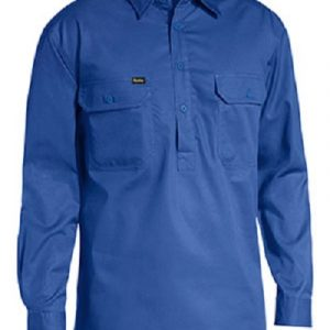 Bisley Mens Long Sleeve Closed Front Lightweight Drill Shirt