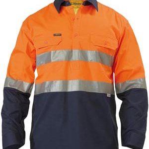 Bisley Hi Vis Long Sleeve Taped Lightweight Closed Front Shirt