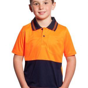 Workcraft Kids Hi Vis Two Tone Polo Orange/Navy